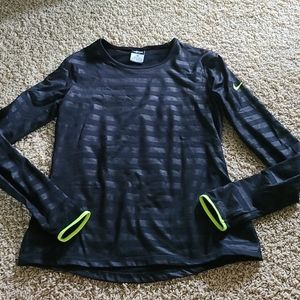 Nike dri fit black stripe neon long sleeve medium